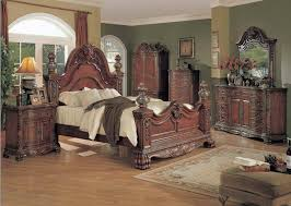 kelsey traditional luxury queen poster bed 4 piece cherry bedroom furniture set reviews kl6300q