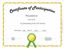 Certificate Of Participation Templates Certificate Of Participation Certificates Templates Free