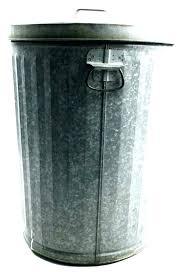 home improvement white steel trash can metal galvanized w lid garbage waste bin kitchen tras