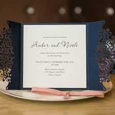 Elegant Invitation Cards Formal Navy Blue Laser Cut Wedding Invitation Cards With Band Swws008 Stylishwedd