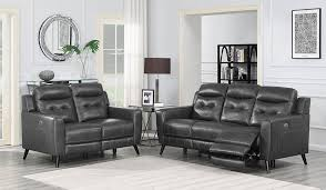 charcoal color top grain leather power sofa