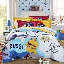 0 Travel Bedding Set For Goodly Orange Blue Aqua And White World Travel  Themed Bedding