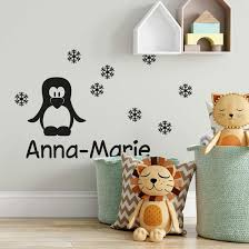penguin name wall sticker wall art com