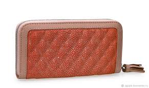 wallet made of premium stingray leather salmon color
