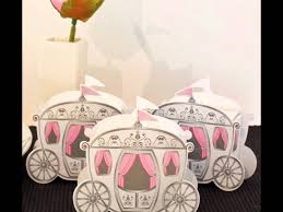 Fairytale Princess Carriage Wedding Favour Gift Boxes - Pink and White