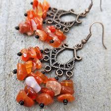 carnelian chandelier earrings antique copper orange carnelian earring gypsy earring stone dangle earring
