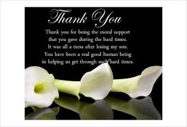 Thank You Quotes For Loss Of Loved One Amazing How To Write Thank You Cards For Funeral Free Premium Templates