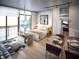 Small Studio Apartments With Beautiful Design Burgundy Yellow And Blue  Interior