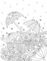 Small Picture Adult Coloring Book Page April Showers by AdultColoringByHolly