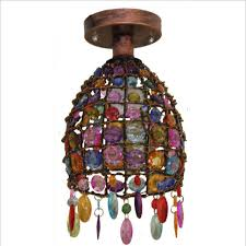 nepal style chandelier ceiling light led retro iron color crystal pendant lamp