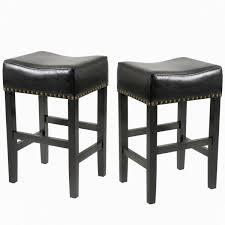 black ivory backless leather bar stool set of 2
