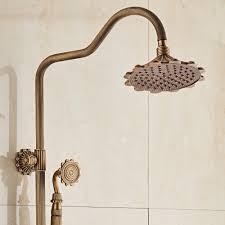 Us 22898 20 Offbadezimmer Retro Brausegarnitur Wasserhahn Antike Messing Wand Wasserfall Dusche Wasserhahn Mit 8 Zoll Regendusche Massiv Dusche