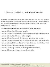 Bank Reconciliation Resume Sample Reconciliation Clerk Resume