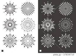 花火 デザインパーツ素材モノクロのイラスト素材 37838710 Pixta