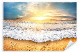 Poster Spuren Im Sand Spruch Meer Strand Sonnenuntergang 30