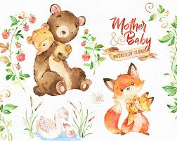 mother and baby animal clipart. Exellent Animal This Lovely Animals Clipart Set Is Just What You Needed For The Perfect  Invitations Craft Projects Paper Products Party Decorations Printable  On Mother And Baby Animal Clipart A