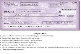 porter county in official website sample check click here to view sample check