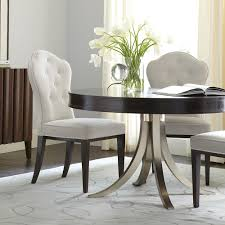 haven wood plated steel round dining table in raven vintage nickel