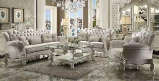 Velvet Living Room Furniture Acme 52105 Versailles 2pcs Ivory Velvet Bone White Sofa Set