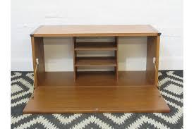 tapley sl teak veneer wall unit bureau or cabinet with drop down door shelves photo