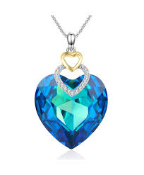 fearless loveblue heart pendant crystal necklace with swarovski crystal angelady jewelry gifts blue cp186sylyyq