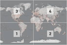 Wereldkaart Zilver Oranje Wandkaart Fotobehang Behang Bestel