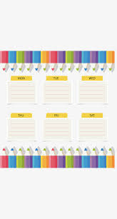 Color Pencil Border Schedule Vector Png Schedule Lined Paper