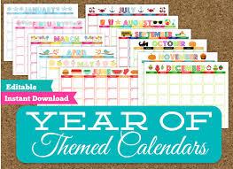 Cute Calendar Template Magnificent Monthly Themed Calendar Set 44 Editable Printable Calendars Etsy