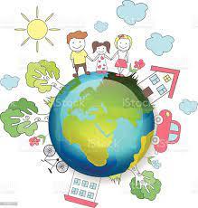 Planeta Ziemia Szczęśliwa Rodzina Ilustracja Wektorowa - Stockowe grafiki  wektorowe i więcej obrazów 2015 - iStock