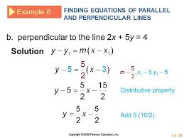 writing equations of parallel and perpendicular lines solver