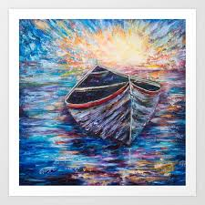 wooden boat at sunrise original oil painting with palette knife society6 decor boat art print