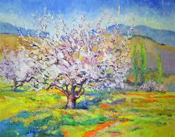 original art for at ugallery com blossom of apricot tree spring landscape