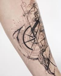 татуировка для мужчины татуировка компас Tattoo Linework Dotwork