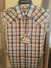 Ely Cattleman Western Mens Brown 100 Premium Cotton Shirt