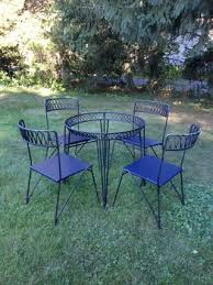 salterini outdoor furniture. Vintage Salterini Ribbon Round Dining Table And Four Chairs Outdoor Furniture I