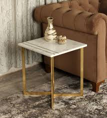 marble top side table in white