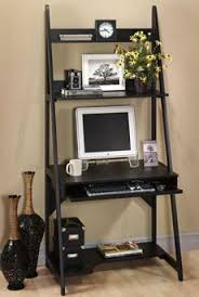 ... Black Colored Computer Desk For Small Room Perfect Shelving Designing  Wooden Base Decorating Keyboard Drawers ...