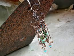 decadent turquoise copper chandelier earrings abstract wire wrap long swingy earrings boho chic by elk jewelry