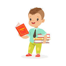 royalty free vector cute boy reading a book while standing and holding books kid enjoying reading