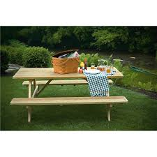 6 foot picnic table with attached benches unfinished painted or stained