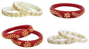 Bengali Gold Shakha Design Red White Gold Shakha Pola Bengali Bangles Collection