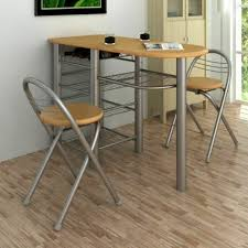 breakfast dinner table and chair set storage shelves and a wine bottle holder
