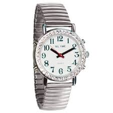 • the world s catalog of ideas mens talking watch rhinestone bezel and expansion band english talking watches maxiaids