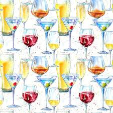 seamless pattern of a champagne cognac wine martini beer and glass