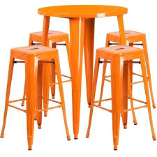 flash furniture round metal bar table set with 4 of stools wood