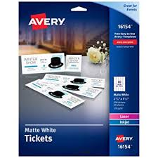 Event Ticket Printing Software Amazon Com Avery Blank Printable Tickets Tear Away Stubs