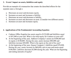 assets and liabilities solved 3 events impact on assets liabilities and equit
