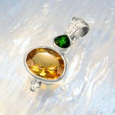 chrome diopside citrine gemstone silver necklace