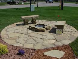 Outdoor Living:Beautiful Backyard Design With Flagstone Patio Ideas Awesome  Round Centerfireplace And Stone Bench