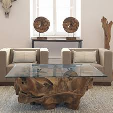 Teak And Glass Coffee Table Teak Root Coffee Table Glass Top Square Rustic Decor Look To Be